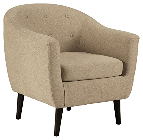 """Signature Design by Ashley 3620621 Klorey Accent Chair - Contemporary Style - Tan, 30.00"""" W X 28.50"""" D X31.50 H, Khaki - Modern accent chair: here's a fresh Take on Mid Century. This chair has charming elements that Express high style effortlessly. Textural upholstery serves to add another layer of sumptuous comfort Plush Cushion: upholstered in supple polyester over a high-resiliency foam Cushion. Supported by a corner blocked frame and exposed legs with a faux wood Finish Mid Century style: enhance your space with the canted legs, button tufting and stylish Barrel design-all highlights of Mid Century aesthetic that remain trendy today - living-room-furniture, living-room, accent-chairs - 51yEmcffywL -"""