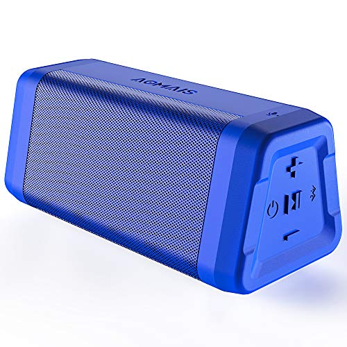 AOMAIS REAL SOUND Portable Bluetooth Speakers Loud Bass in Dual Stereo Pairing 20 Hours Playtime, Bluetooth 4.2, 100ft Range, IPX4 Waterproof, Durable Wireless Speaker for Home, Outdoor, Travel (Blue)
