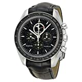 Omega Speedmaster Chronograph Black Dial Black Leather Mens Watch 31133443201001