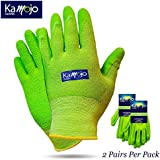 Bamboo Gardening Gloves for Women & Men (2 pairs pack) Ultra-Premium & Breathable to Keep Hands Dry - Textured Grip to Reduce Slipping Garden & Work Gloves by Kamojo (Medium)