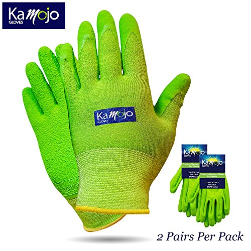 Bamboo Gardening Gloves for Women & Men (2 pairs pack) Ultra-Premium & Breathable to Keep Hands Dry - Textured Grip to Reduce Slipping Garden & Work Gloves by Kamojo (Medium) by Kamojo