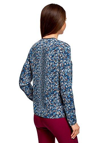 Bleu Finition Contrastante Blouse avec Ultra Imprime oodji Femme 7937f 06xAq1w44T
