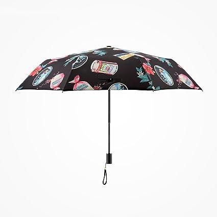 AFCITY Mujer Hombre Paraguas Viaje Patrón Creativo Paraguas Plegable Paraguas de protección Solar para Mujeres Viaje