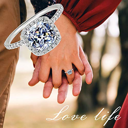 WYILIY White/Pink Gold Plated Cubic Zirconia Promise Halo Engagement Promise Eternity Ring for Women