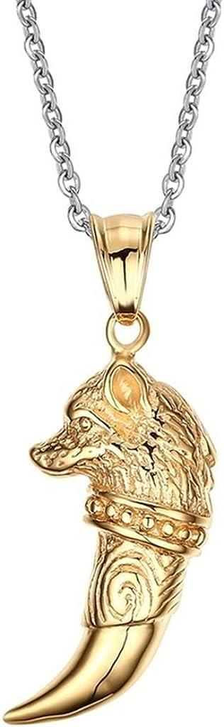 Daesar Joyería Acero Inoxidable Colgante Collar Hombre Pequeño Diente de Lobo Wolf Tooth Pendant