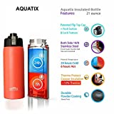 Aquatix (Bright Pop Orange, 21 Ounce) Pure Stainless Steel Double Wall Vacuum Insulated Sports Water Bottle with Convenient Flip Top - Keeps Drinks Cold for 24 Hours, Hot for 6 Hours