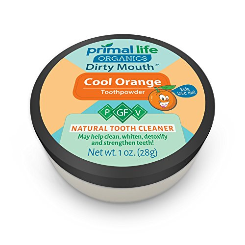 Dirty Mouth Organic Toothpowder All Natural Dental Cleanser- Gently Polishes, Detoxifies, Re-Mineralizes, Strengthens Teeth - Kids Cool Orange (1 oz = 3mo Supply) - Primal Life Organics (Love Child Organics)