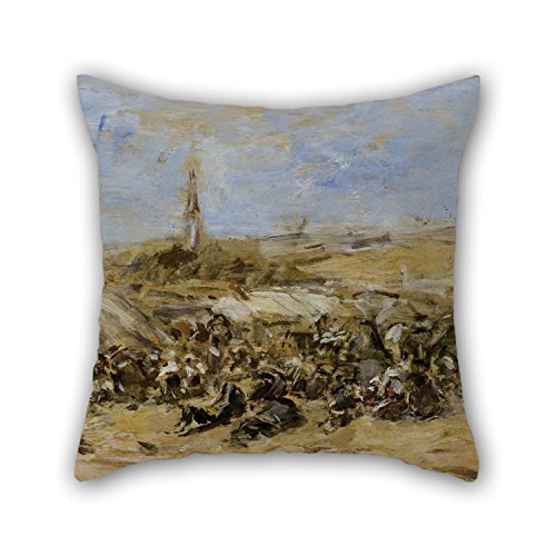 - Beautifulseason Oil Painting Eugène Boudin - Pardon Of Ste-Anne-La-Palud Christmas Pillowcase Best For Drawing Room Home Living Room Saloon Play Room 18 X 18 Inches / 45 By 45 Cm(double Sides)