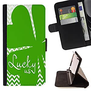 King Art - Premium-PU-Leder-Prima caja de la PU billetera de cuero con ranuras para tarjetas, efectivo Compartimiento desmontable y correa para la mu?eca FOR Sony Xperia Z3 D6653- Good Luck Lucky