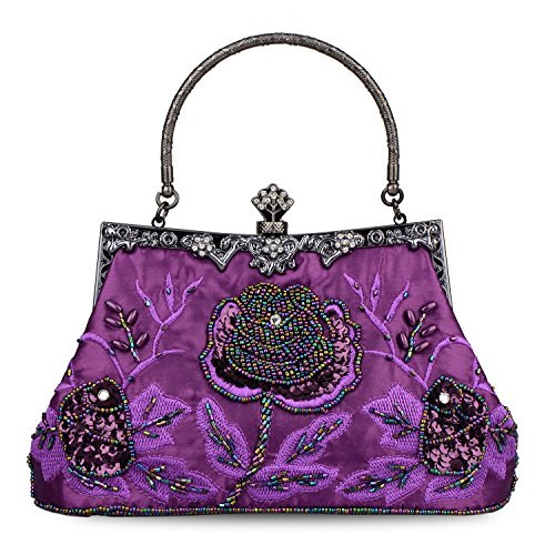 (Baglamor Women's Vintage Style Roses Beaded And Sequined Evening Bag Wedding Party Clutch Purse (Purple))