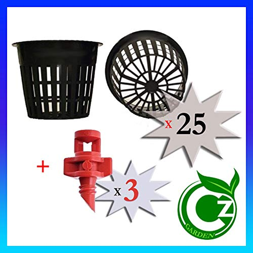 - 25 Pack - 3 inch Round Heavy Duty Net Cups Pots Wide Lip Design - Orchids • Aquaponics • Aquaculture • Hydroponics • Wide Mouth Mason Jars • Slotted Mesh by Cz Garden Supply