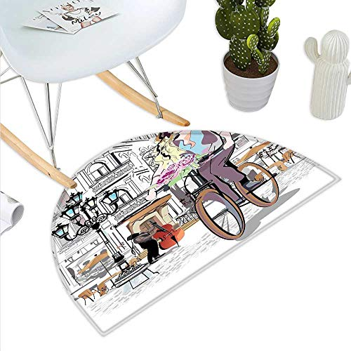 - Paris Semicircle Doormat Young Girl with Bike and Roses in a Street Old Town Musician Romantic Tour in City Halfmoon doormats H 15.7