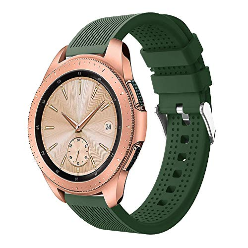 Insaneness Pure Colour Stripe Sport Soft Silicon Accessory Watch Band for Samsung Galaxy Watch 42mm (Army Green)