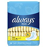 Always Maxi, Size 1, Regular Pads With Wings, Unscented, 36 Count, Packaging May Vary