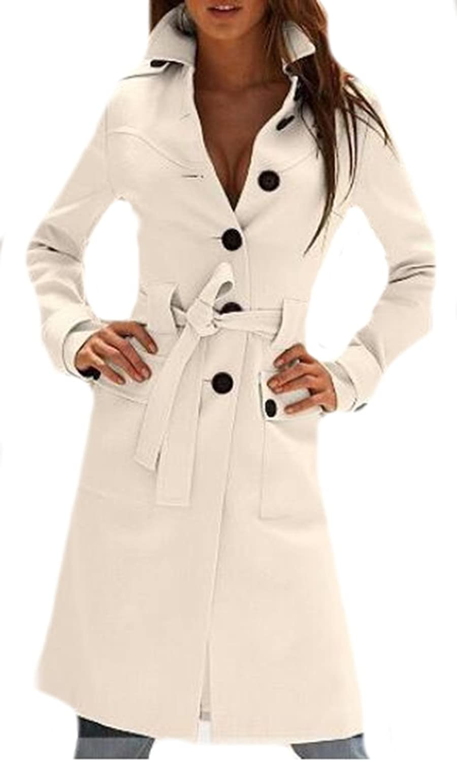 XTX Women Fashion Single Breasted Fitted Waist Bandage Coats