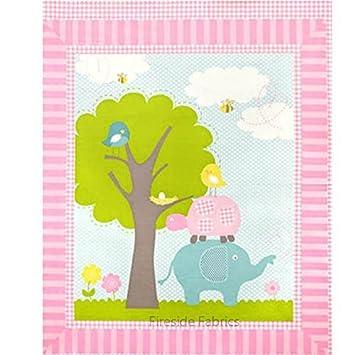 Amazon.com:  Sweet Meadow Panel  Baby Elephant & Turtle Cheater ... : elephant quilt panel - Adamdwight.com