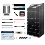 Renogy 500 Watt 12 Volt Premium Solar Complete Kit Monocrystalline with MPPT Charge Controller +Mounts+ 100AH Gel Battery+ 1000W Pure Sinve Inverter