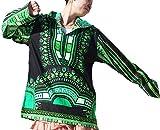 RaanPahMuang Brand Thin Bright Dashiki Windbreaker Hoody Long Sleeve, Small, Black With Green