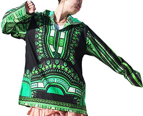 RaanPahMuang Brand Thin Bright Dashiki Windbreaker Hoody Long Sleeve, Small, Black With Green by RaanPahMuang