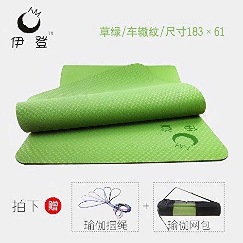YOOMAT TPE materassino Yoga Ragazza di motorino di avviamento Denso Ampio Corpo Cavo di prolunga Antiscivolo Tappetino Fitness a 3 Pezzi,6mm(Starter) [61] Vasta Erba verde66549