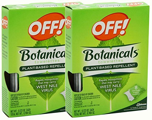 OFF! Botanical Towelettes Plant Based Repellent, 8 Count, (Pack of 2) -