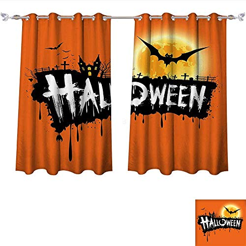 Qinqin-Home Thermal Insulated Grommet Halloween Spooky Party Theme Flying Bats and Gloomy Full Moon Grunge Style Retro Orange Black Blackout Curtains for Bedroom (W63 x L63 -Inch 2 Panels) -