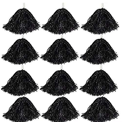 CRIVERS 12pc Cheerleader Pompoms Ball Dance Fancy Dress Night Party Sports (Black)