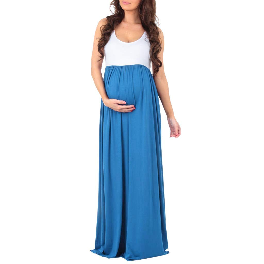 Yaseking Women's Sleeveless Cotton Ruched Color Block Maxi Dresses Maternity Pregnancy Splicing Dress(M,Blue)