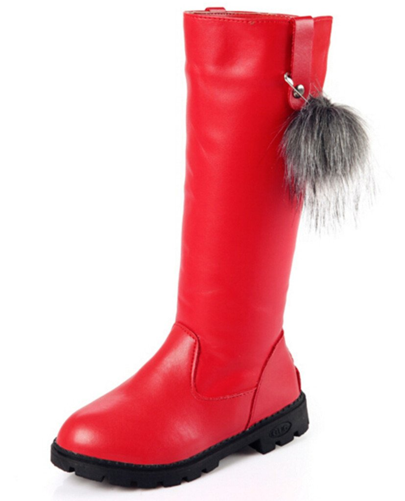 DADAWEN Girl's Waterproof Pom Pom Back Zipper Fur Tall Riding Boots (Toddler/Little Kid/Big Kid) Red US Size 8.5 M Toddler