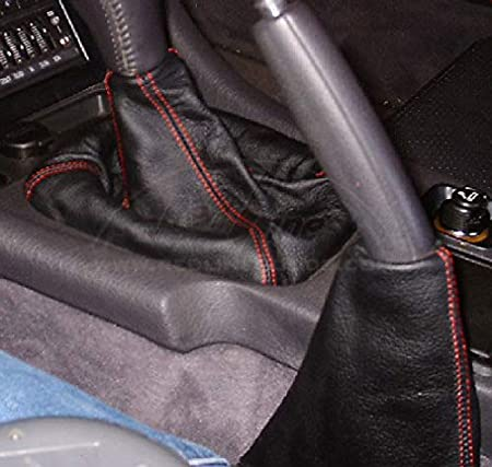 RedlineGoods Shift Boot Compatible with Mitsubishi GTO//3000GT 1990-97 Black Leather-Black Thread