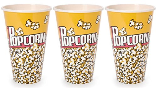 Movie Theater Popcorn Cups Reusable Popcorn Bucket - Set of 3 Popcorn Set - (7x4.5 Inches)