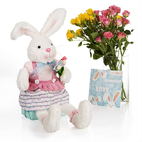 oneBest Stuffed Bunny Rabbit Stuffed Animals Handmade Plush Toy Gifts for Her Kids Girls Boys Grandma Mom Wife Daughters Plush Bunny Stuffed Animal White Rabbit Girl Pink Dress Flowers 25 inches
