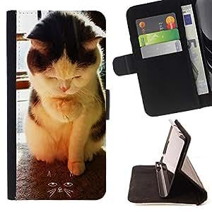 Cat Family ???¡¯?¡??nico Dise???¡¯???¡Ào caja de la PU billetera de cuero - FOR Samsung ALPHA G850 - Cat Cute Sleep -