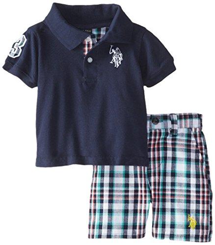 U.S. Polo Assn. Baby Boys Pique Polo and Plaid Short Set