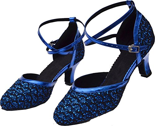 Ballroom Dance Round Practice Wedding Pu Heel toe Blue Party Latin Abby Tango shoes Beginner Block Womens wSxqxfXB