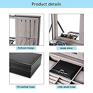 EleLight Black Jewelry Box 8 Slots Watch Organizer Storage Case with Lock and Mirror for Men Women