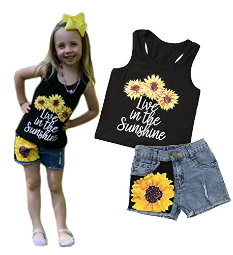 2Pc Baby Girl Sunflower Clothes Outfits Kids T-Shirt Tops+Denim Jeans Pants Shorts (Sunflower Costumes Infants)