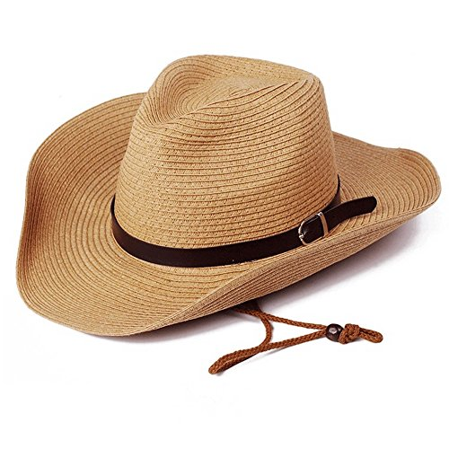 Cowboy Protection Sun (wxinmei Summer Men Straw Cowboy Hat Outdoor Sun Protection Sun Hat-Natural Roll, One Size fits Most (Light Coffee))