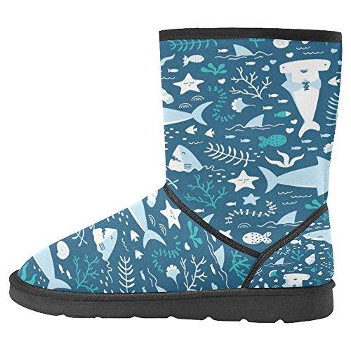 InterestPrint Womens Snow Boots Unique Designed Comfort Winter Boots Cute Sharks Multi 1 uhv6F1jr8i