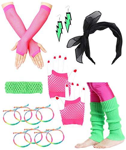 Besteel 80s Outfit Costume Accessories Headband Neon Earrings Fishnet Gloves Leg Warmers Bracelet Sets -