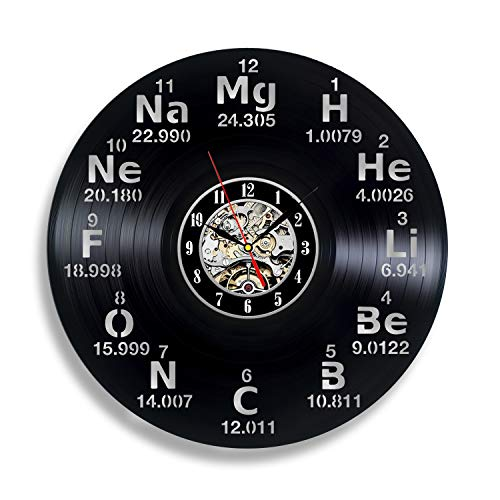 - Chemistry Science Periodic Table Circle Vinyl Wall Clock Art Home Decor Interior Design Childrens Room Living Bedroom Nursery Decoration - Gift for kids him her mother father boyfriend girlfriend