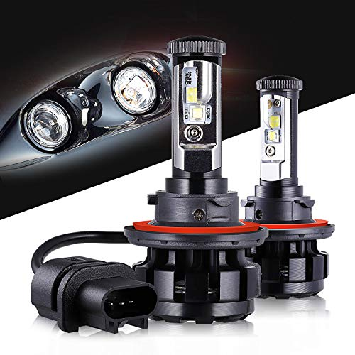 (LED Headlight Bulbs H13 CREE Chips All-in-One Conversion Kit,12000 Lumen 6000K Cool White Anti-flicker Fit for High Beam Low Beam Fog Car Lights Replacement by Max5-2 Years Warranty)