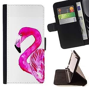 Momo Phone Case / Flip Funda de Cuero Case Cover - Rosa Blanco Pájaro Florida Acuarela - Sony Xperia M2