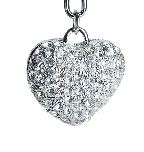 (Lilly Rocket Silver Clear Heart Bling Swarovski Rhinestone Crystal Charm Pendant Purse Bag Key Ring Chain)