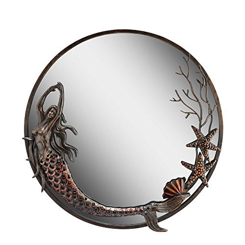 San Pacific International Inc Mermaid Round Mirror - 22.5 diam. - Primitive Mirrors Bathroom