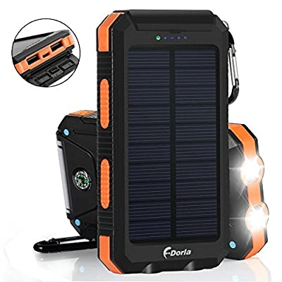 F.DORLA Solar Charger 20000mAh Power Bank, Portable Charger Solar Phone Charger with 2 USB Port 2 LED Light External Battery Pack for Emergency Travelling Camping, iPhone Android Cellphone Charging by F.Dorla