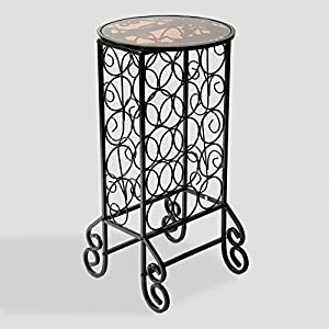 Scroll Iron Smoked Glass Top 15-Bottle Wine Table
