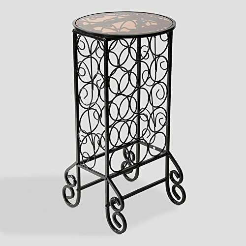 (Southern Enterprises 15 Wine Bottle Storage Table - Glass Top w/Black Finish - Elegant Wrought Iron Scrollwork)
