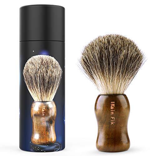 Updated 2019 Version Pure Badger Shaving Brush, Engineered for The Best Shave of Your Life. Travel Shaving brushes for men for Safety Razor, Double Edge Razor, Straight Razor or mens Shaving