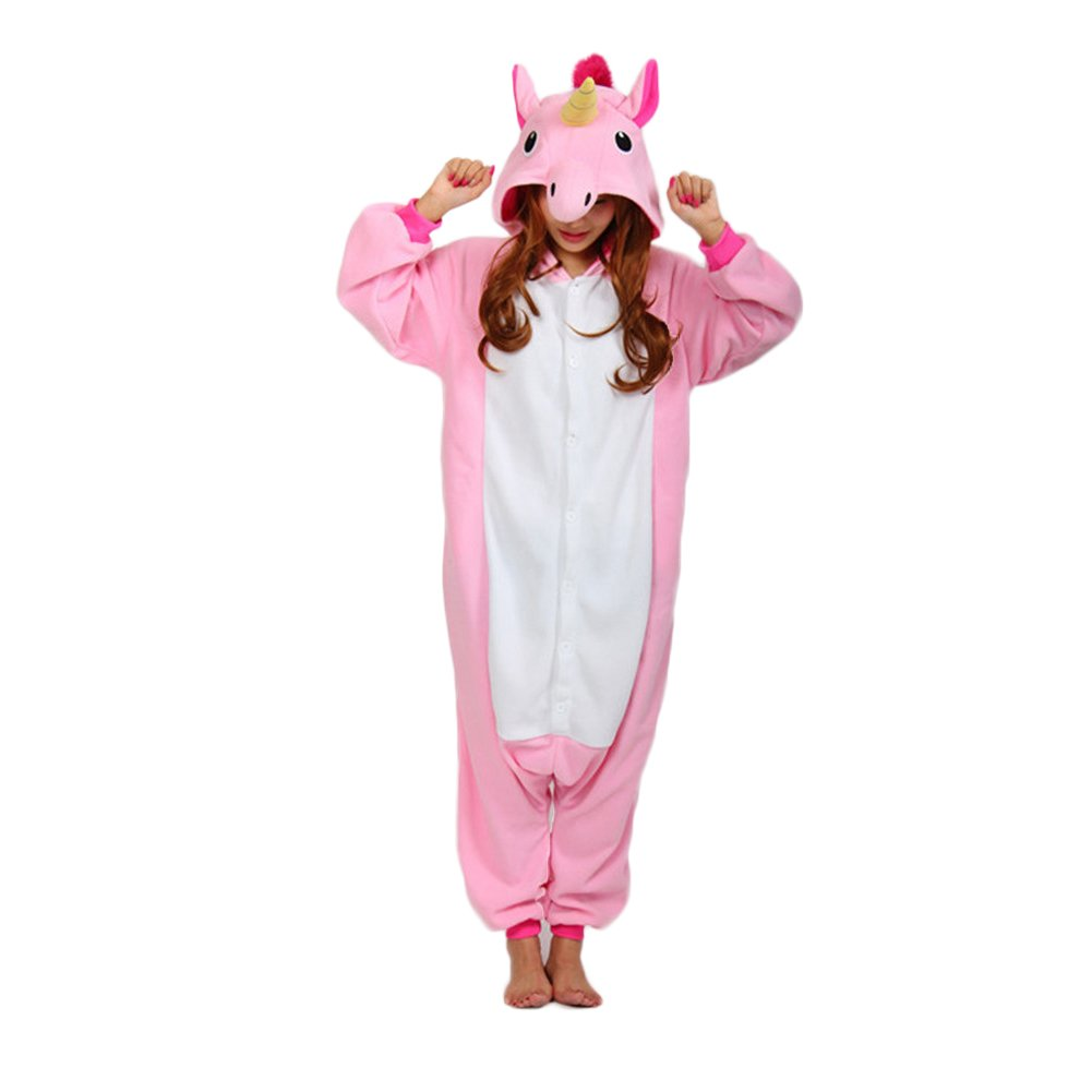Engerla Unicorn Lounge Wear Sleepsuit Pajamas Adult Halloween Animal Costumes Outfit Pink Unicorn Large